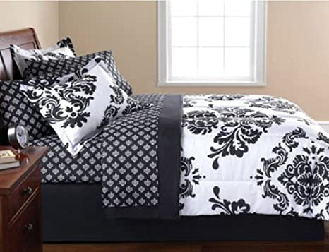 Black & White Damask Full Comforter & Sheet Set (8 Piece Bed In A Bag) Modern Living
