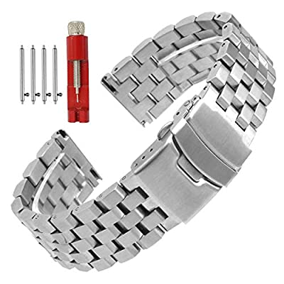 Quick Release Solid Stainless Steel Watch Band Bracelet Strap 18mm/20mm/22mm/24mm Double Locking Clasp for Mens Women from Hstrap