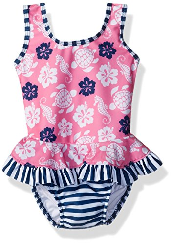 Flap Happy Baby Girls' UPF 50+ Stella Infant Ruffle Suit With Swim Diaper, Beach Bliss, 24m (Flap Happy Clothes)