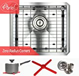 Ariel 17 Inch Zero Radius Design 16 Gauge Undermount Single Bowl Stainless Steel Kitchen Bar Prep Island Sink Premium Package