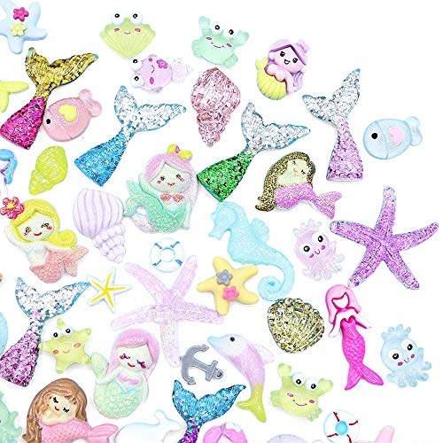 50pcs Cute Slime Charms of Mixed Mermaid Tail Dolphin Shell Starfish Boat Resin Flat Back Embellishments for DIY Scrapbooking Crafts