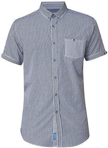 Duke London D555 Botón Abajo Camisa de Cuadros Vichy con Parche de Bolsillo (Hank) Azul Marino/Blanco: Amazon.es: Ropa y accesorios