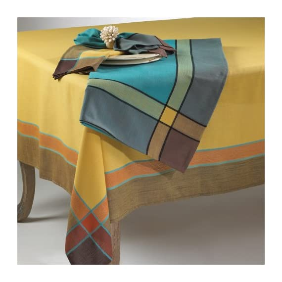"""Fennco Styles Maison Beaujard Provençal Design Tablecloth. One Piece. (70 Inch Square, Marigold) - beautiful Maison beaujard provencal design tablecloth and napkins it's perfect showcase piece for your dining table approx. 70"""" W x 70"""" L - tablecloths, kitchen-dining-room-table-linens, kitchen-dining-room - 51wxP08Wd2L. SS570  -"""