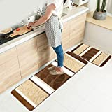 HEBE Kitchen Rugs Set 2 Piece Machine Washable Non-Slip Kitchen Mats and Rugs Runner Set Rubber Backing Indoor Outdoor Entry Floor Carpet Door Mat Runner (18'x47'+18'x30', Brown)