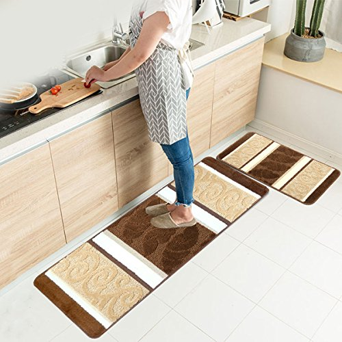 "HEBE Kitchen Rugs Set 2 Piece Machine Washable Non-Slip Kitchen Mats and Rugs Runner Set Rubber Backing Indoor Outdoor Entry Floor Carpet Door Mat Runner (18""x47""+18""x30"", Brown)"