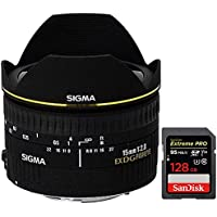 Sigma 15mm F2.8 EX DG DIAGONAL Fisheye for Nikon SLR Cameras (476306) with Sandisk Extreme PRO SDXC 128GB UHS-1 Memory Card