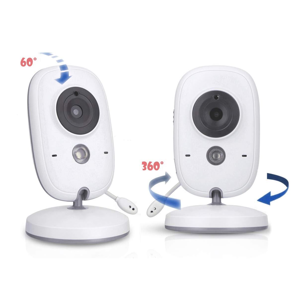 AWANFI C/ámara de Vigilancia Infantil con Funci/ón Walkie Talkie Beb/é Monitor Comunicaci/ón Bidireccional Vigilabeb/és Inal/ámbrico con Pantalla LCD de 3.2 Visi/ón Nocturna y Monitoreo de Temperatura