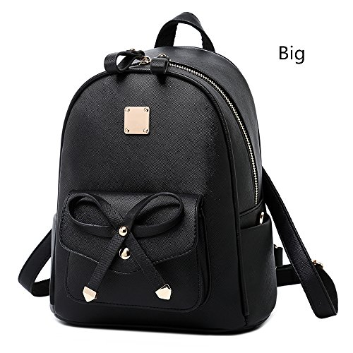 17fbe3459a46 WINK KANGAROO Fashion Shoulder Bag Rucksack PU Leather Women Girls Ladies  Backpack Travel bag (Black