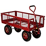 New 48X24 1400Lb Yard Garden Wagon Large Cart Utility Wheelbarrow Nursery Patio