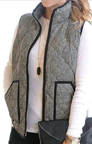 エキサイティングティッシュアンソロジーFly Year-JP 女性のスタンドカラー軽量パッドキルトジャケットベスト