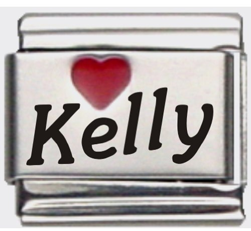 - Kelly Red Heart Laser Name Italian Charm Link