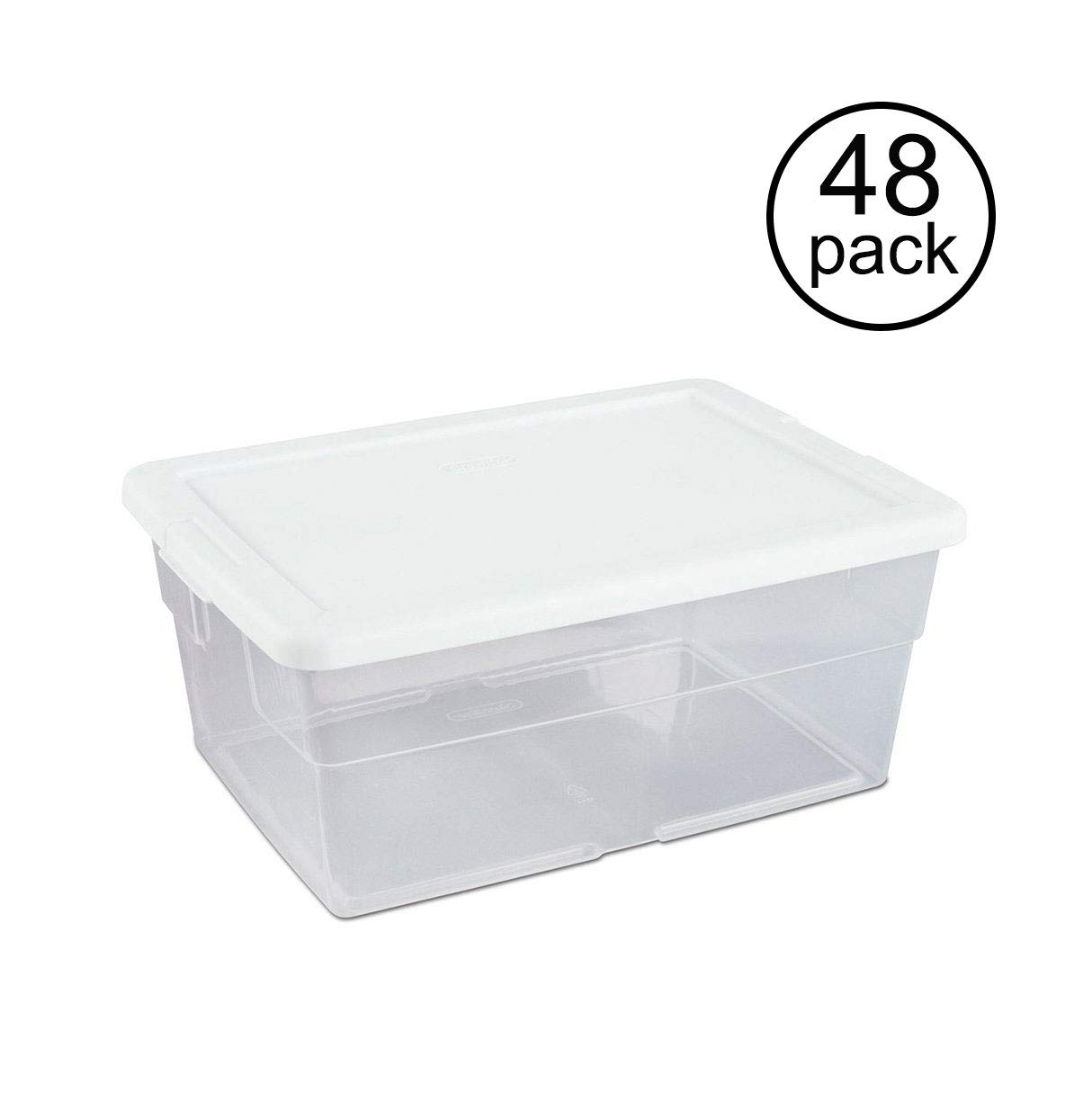 Sterilite 16 Quart Clear Stacking Closet Storage Box Container Tub (48 Pack)