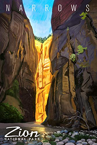 Zion National Park, Utah - Narrows - Namedrop - Oil Painting (16x24 Giclee Gallery Print, Wall Decor Travel Poster) (Map Of The Narrows In Zion National Park)