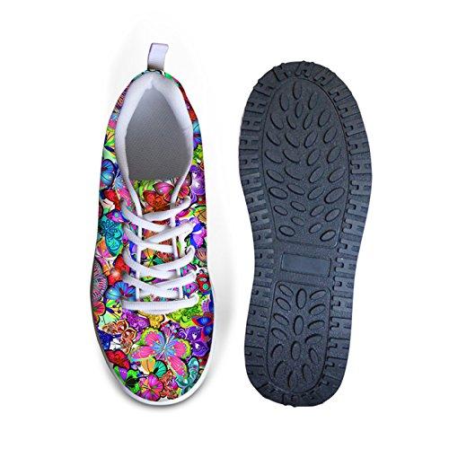 Dellukee Walking Gymnastik Kvinnor Mode Färg Låg Vikt Med Hög Klack Fitness Skor Fjäril