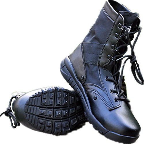 HanWild Dreamer Mens Lightweight 8 inches Leather Military Combat Boots Black hlblgZ9P
