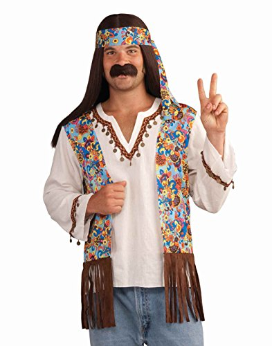 Forum Novelties Men's Groovy Hippie Costume Shirt and Headband, Multi Colored, One (Groovy 60's Costumes)