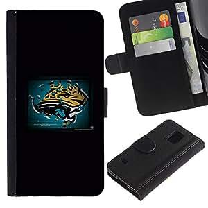Pantera - la tarjeta de Crédito Slots PU Funda de cuero Monedero caso cubierta de piel Para Samsung Galaxy S5 V SM-G900
