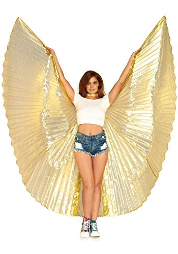 Leg Avenue Costume Halter - Leg Avenue Women's 360 Degree Pleated Halter Isis Wings with Support Sticks, Gold, One Sizes Fit Most