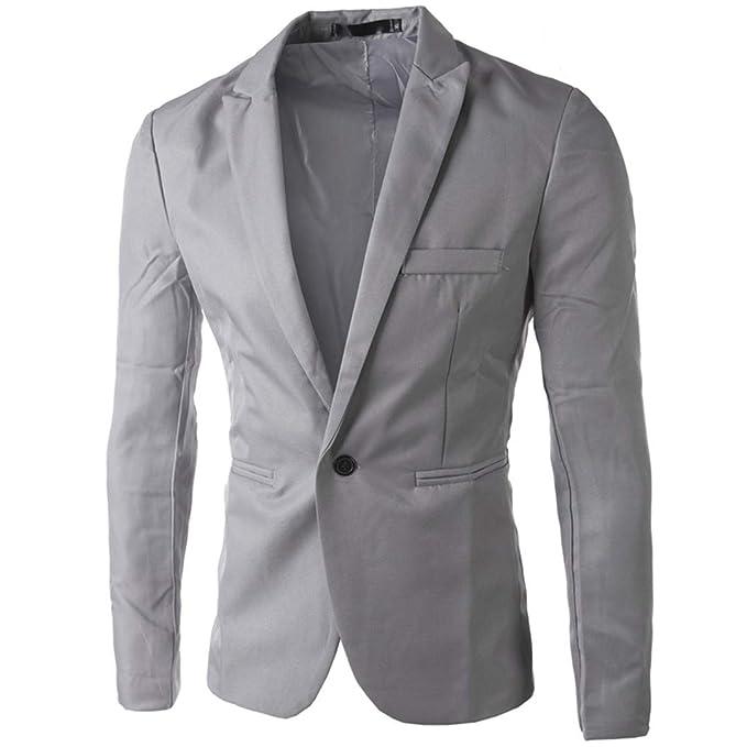 Chaqueta para Hombre Slim Fit Blazer Chaqueta Traje de Hombre con Estilo Coreano Elegante Traje Gray