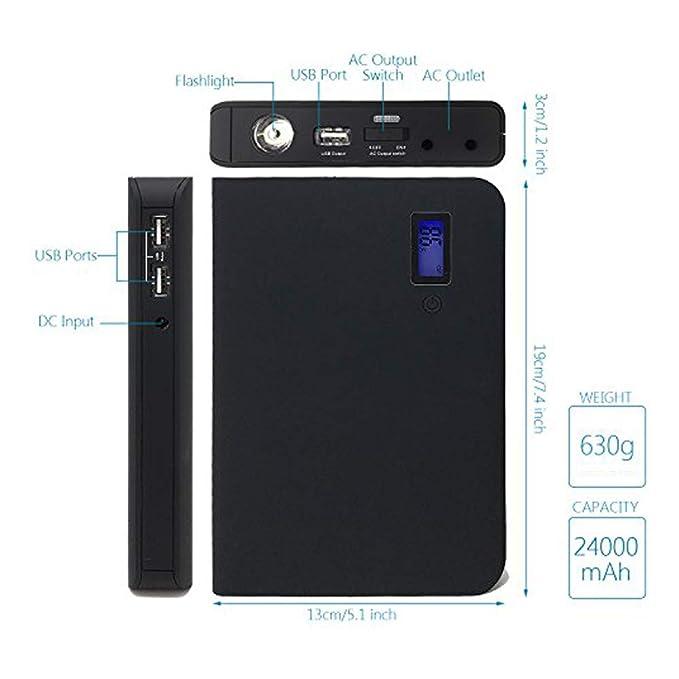 epow® Plug-me 24000 mAh, Batería Externa Toma Sector AC 110 V 220 V integrada para Ordenador portátil 100% Compatible, Cargador portátil 85 WH Ideal para ...