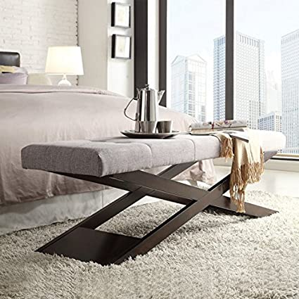 Phenomenal Weston Home X Base Bench Gray Linen 48 In Beatyapartments Chair Design Images Beatyapartmentscom