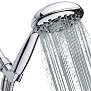 "#LightningDeal High Pressure Handheld Shower Head 6-Setting - Luxury 5"" Hand held Rain Shower with Hose - Powerful Shower Spray Even with Low Water Pressure in Supply Pipeline - Low Flow Rainfall Showerhead"