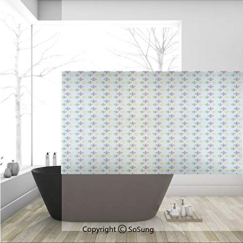 3D Decorative Privacy Window Films,Fleur De Lis in Mardi Gras Carnival Colors Ancient Festival Pattern Decorative,No-Glue Self Static Cling Glass film for Home Bedroom Bathroom Kitchen Office 36x24 In