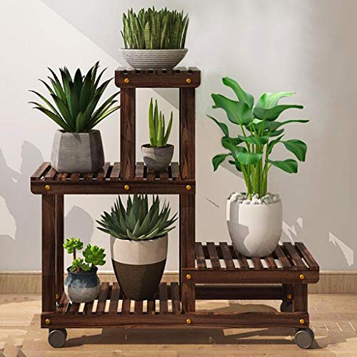 HY Multi-Layer Solid Wood with Wheel Flower Stand Floor Assembly Mobile Indoor Balcony Living Room Space Space Potted Wood Shelf Solid Wood Flower Stand, Plus Wheels, More Convenient to ()