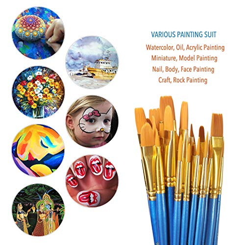 Paint Brush Set, 50 pcs/5 Pack Nylon Hair Brushes for All Purpose Acrylic Oil Ink Watercolor Face Painting Artist Professional Paintbrush Kits by ALOOK (Image #2)