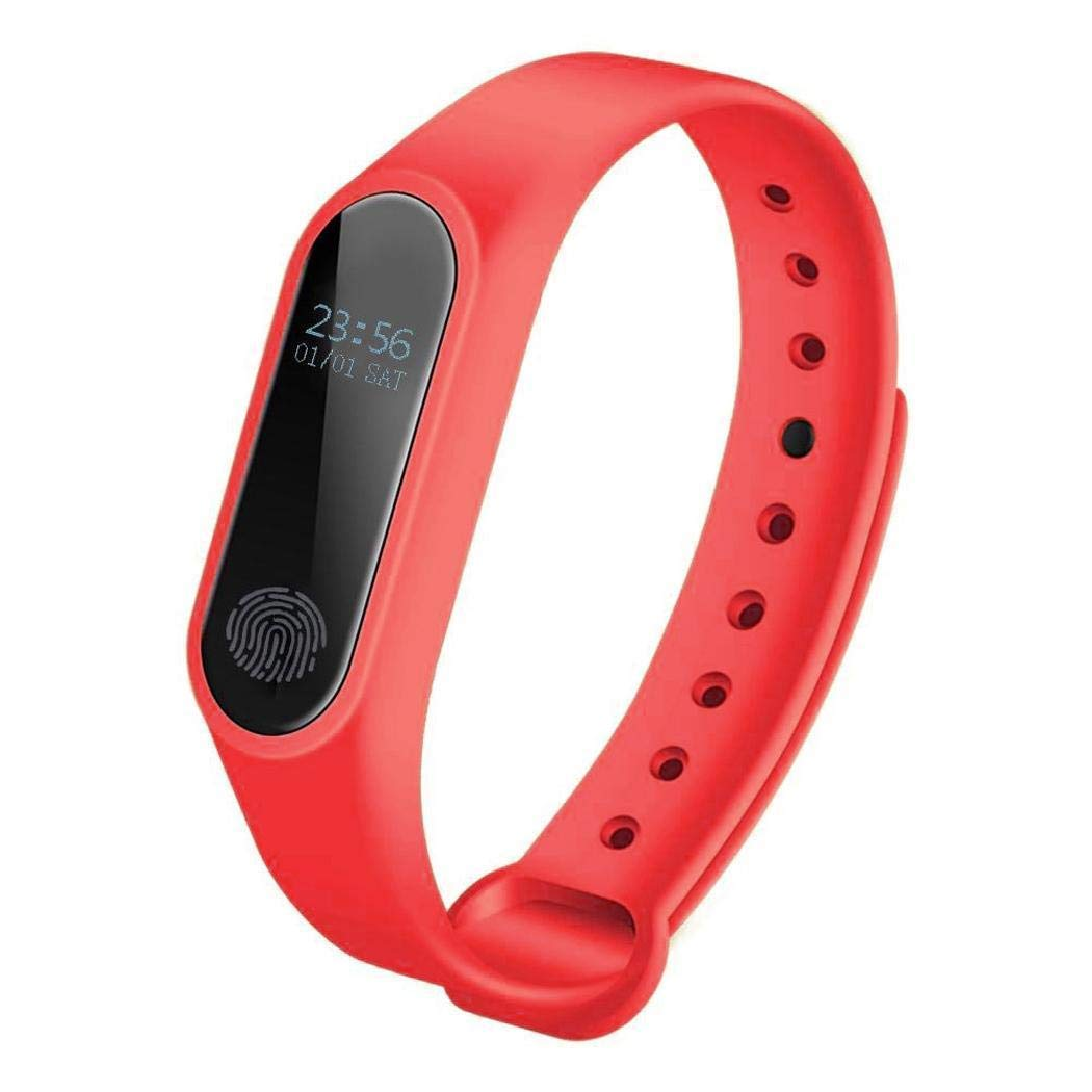 M2 Heart Rate Wristband, Waterproof Smart Fitness Activity Tracker, Heart Rate Monitor for iPhone iOS Android Smartphones (Rose Red)