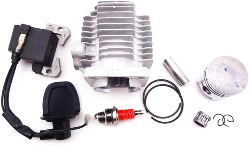 Race-Guy L7T Spark Plug Ignition Coil 44mm Cylinder Head 12mm Piston Kit for 2 Stroke 49cc Engine Mini Quad ATV Pocket Dirt Bike Go Kart