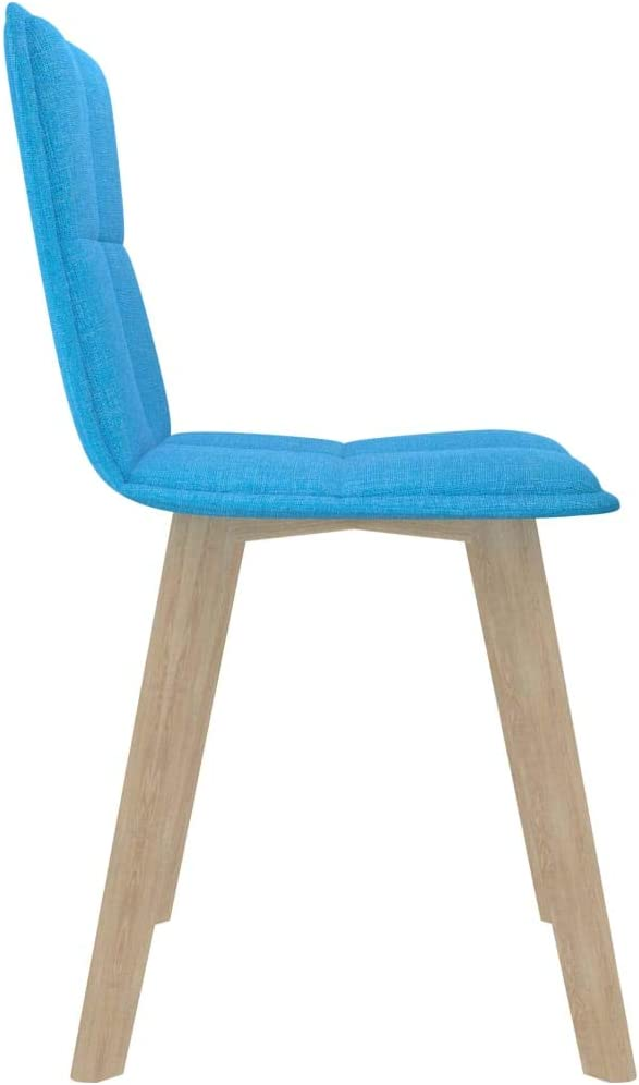 vidaXL 6 x Dining Room Chairs, Kitchen Chairs, Upholstered Chairs, Living Room Chairs, Dining Room Chairs, Dark Grey Fabric, Wooden Legs Blue/6x