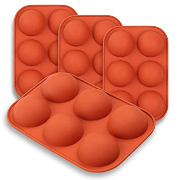 homEdge Molde de silicona semiesfera medio, 4 paquetes de molde para hornear para hacer chocolate, pastel, gelatina, mousse de cúpula: Amazon.es: Hogar