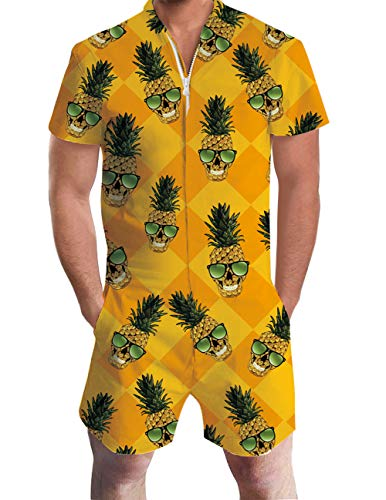 uideazone Male Romper Glass Pineapple Style Funny Zip up Short Sleeve Jumpsuit One Piece Overall Outfits for Beach Casual Boyfriends Couples Party