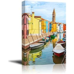 "Wall26 - Canvas Prints Wall Art - Color Houses with Boats on Burano Island near Venice , Italy | Modern Wall Decor/ Home Decoration Stretched Gallery Canvas Wrap Giclee Print. Ready to Hang - 12"" x 18"""