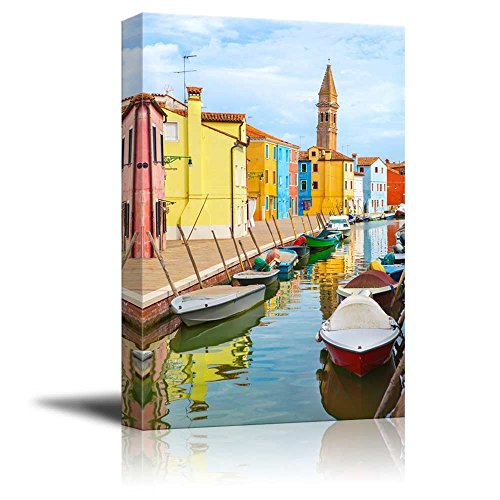 Wall26   Canvas Prints Wall Art   Color Houses With Boats On Burano Island Near Venice   Italy   Modern Wall Decor  Home Decoration Stretched Gallery Canvas Wrap Giclee Print  Ready To Hang   12  X 18