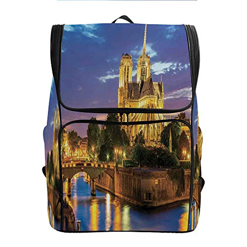 SCOCICI Computer Backpack,Notre Dame Cathedral at Dusk,Gift for Starting School