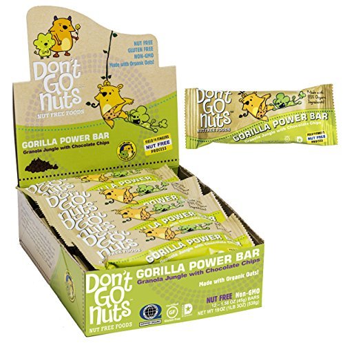 Don't Go Nuts Nut-Free Organic Snack Bars, Gorilla Power, Chocolate Chip Granola, 1.58 Ounce Bars, 12 Count (Peanut Free compare prices)