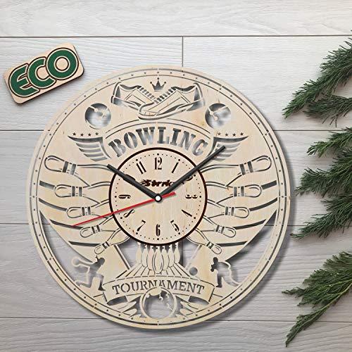 Bowling Wall Clock - Battery Operated Non Ticking Clocks - Wood Modern Wall Decor - Kitchen Office Bedroom Decorative Clocks - Custom Gift Idea Birthday Christmas Hanukkah Anniversary - Size 12 Inch