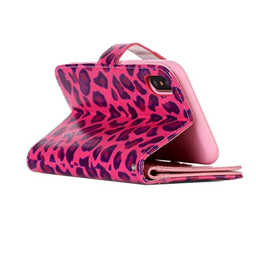 Mxnet IPhone X Case, Leopard und Bowknot Pattern Horizontal Flip Ledertasche mit Halter & Kartensteckplätze & Wallet & Photo Frame ( Size : Ip8g3633l )