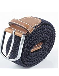 TopOne Men`s Casual Braided Elastic Stretch Belt (Navy Blue)