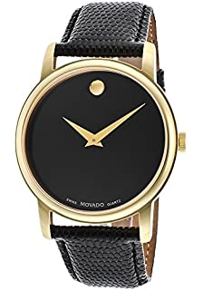 movado men s 0606502 museum stainless steel and black leather movado men s museum 2100005 black leather swiss quartz watch black dial