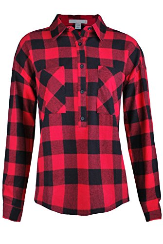 Ollie Arnes Women's Boyfriend-Inspired Soft Plaid Flannel Shirt and Shirt Dress 26R_ RED M (Flannel Plaid Patterned)
