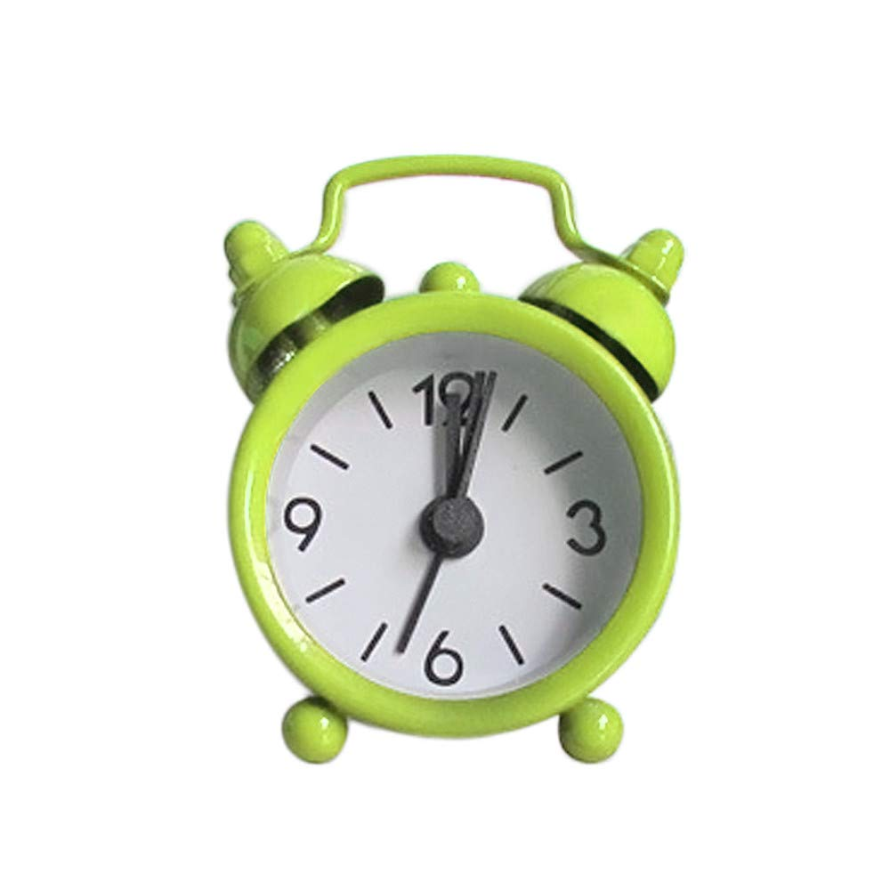 Alarm Clock,SIN+MON Super Silent Non Ticking Bedside Desk Analog Travel Clocks Desk Alarm Clock Creative Cute Mini Metal Small Alarm Clock Electronic for Kids Girl Boy Bedroom (Green)
