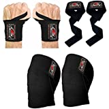 BeSmart Knee Wraps Weight Lifting Body Building Gym Training Support Leg Wrist Straps R