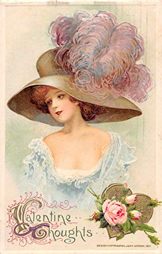 Valentines Greetings Woman Wearing Big Feathered Hat Winsch Postcard JJ658712