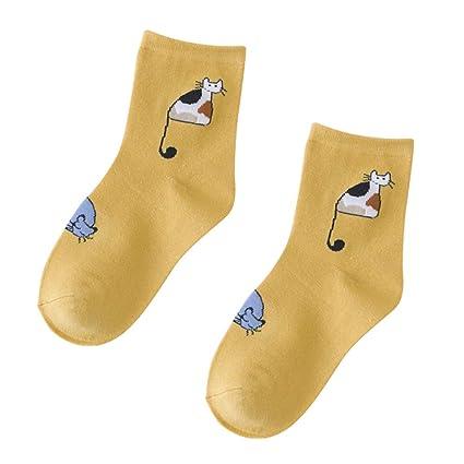 wiFndTu 5 pares de calcetines cortos de algodón transpirables para gato, para mujer, color