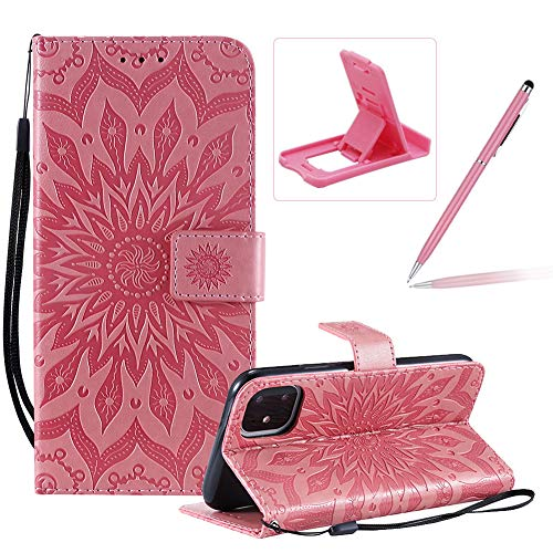 Wallet Case for iPhone 11,Strap Flip Case for iPhone 11,Herzzer Retro Elegant [Pink Mandala Flower Pattern] Stand Magnetic Leather Case with Soft TPU