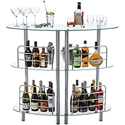 Mango Steam Contemporary Modern Home Entertainment Liquor Bar Catalina Table Tempered Glass