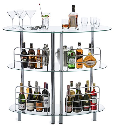 Mango Steam Contemporary Modern Home Liquor Bar Catalina Table Tempered Glass (Corner White Cabinet Bar)